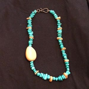 "Jewelry - 20"" Tauga nut and turquoise necklace"